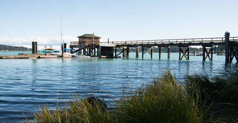 View of wharf from Harboursides beach